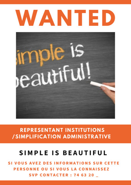 Simple Is Beautiful - Représentant institutions / Simplification administrative
